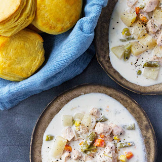 Slow Cooker Chicken Pot Pie Soup with Biscuits.
