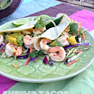 Shrimp Tacos with Mango Guacamole
