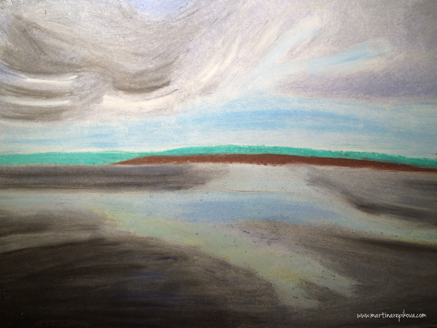 Orava dam before a storm, Slovakia (a pastel drawing)