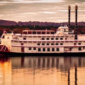 Riverboat by Jennifer  Loper  - Transportation Boats ( branson, cloudy sky, table rock, lake, missouri, riverboat )