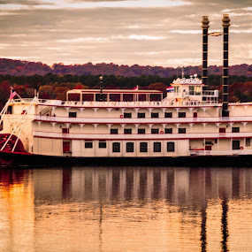Riverboat by Jennifer  Loper  - Transportation Boats ( branson, cloudy sky, table rock, lake, missouri, riverboat )
