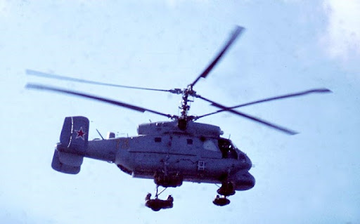 Kamov ka-25 helicopter operating from moskva in 1970 (image courtesy