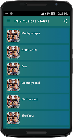 android CD9 musicas y letras Screenshot 0