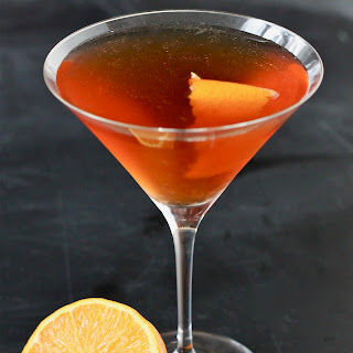 AppleJack Cocktail with Homemade Grenadine.