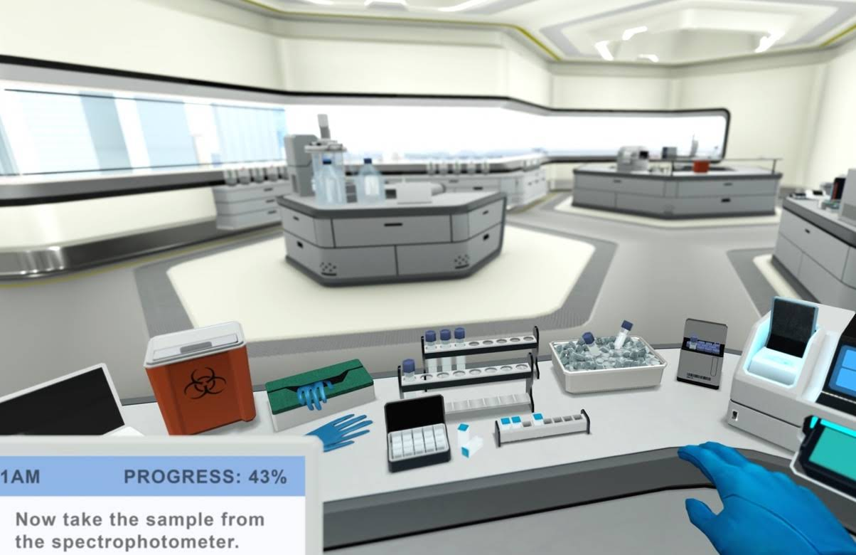 Image of a lab simulated using Virtual Reality
