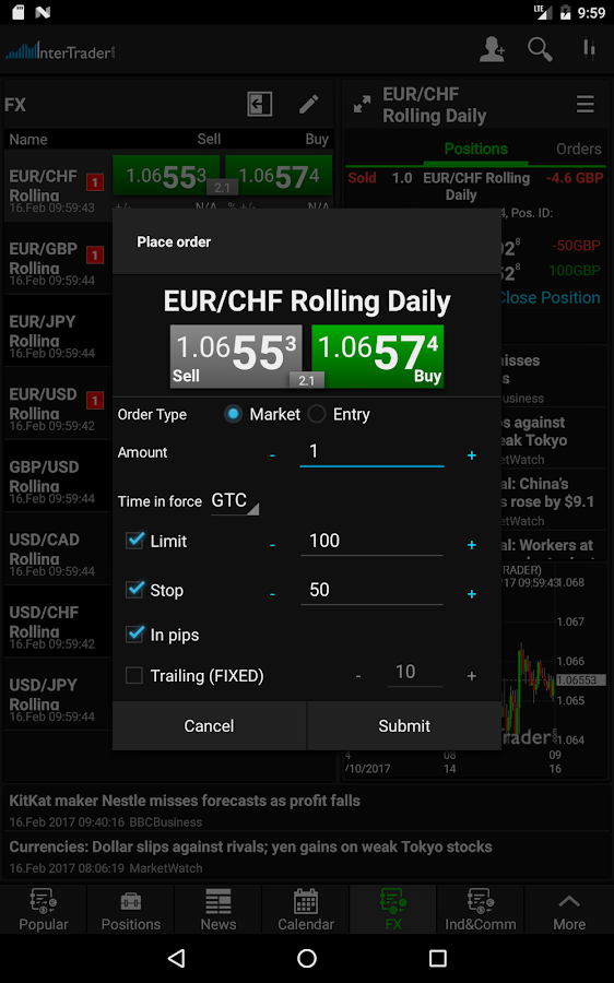 InterTrader Trading App- screenshot