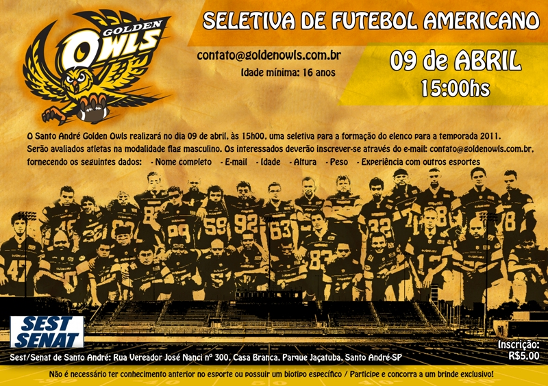Futebol Americano - Seletiva 09 de Abril Sto André-SP FlyerA5_goldenowls_BAIXA