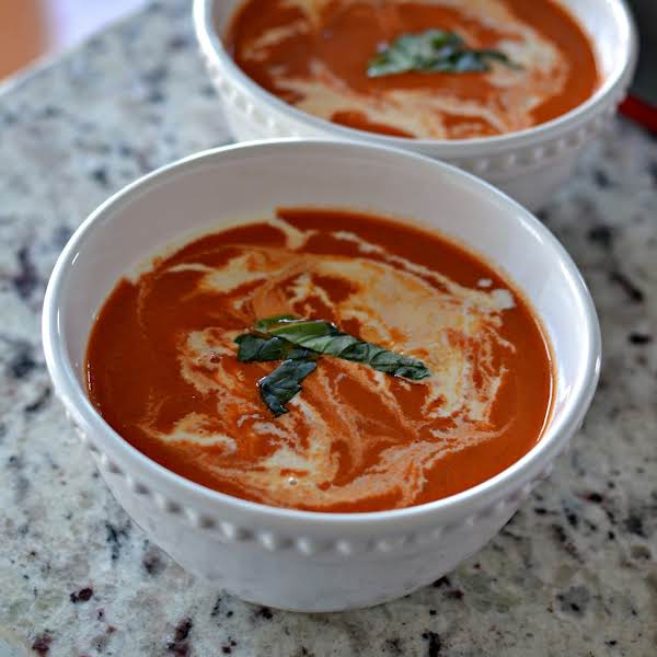 Tomato Bisque Is A One Pot Delicious Creamy Tomato Soup Made In Less Than One Hour. It Is Perfect Served With Caprese Grilled Cheese Or Italian Chopped Salad With Fresh Italian Dressing.  It Is Kid Friendly And Leftover Soup Heats Up Well In The Microwave