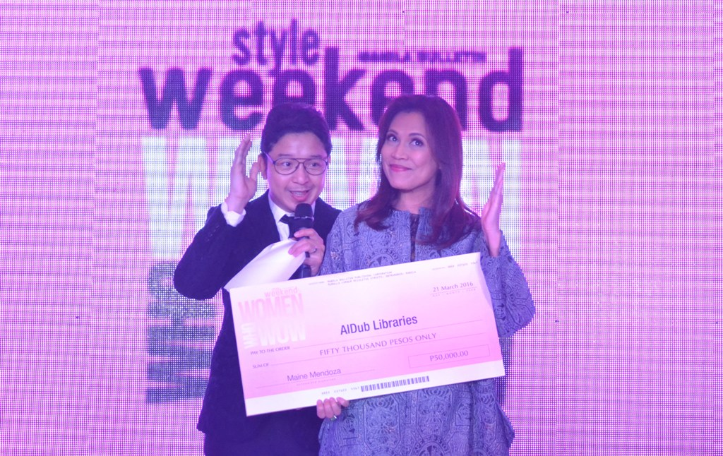 TOGETHER WITH HOST RJ LEDESMA, STYLE WEEKEND EIC LIZA ILARDE PRESENTS THE DONATION IN BEHALF OF MAINE MENDOZA FOR ALDUB LIBRARIES
