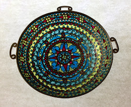 Photo: Plique-à-Jour Enamels by Diane Echnoz Almeyda - Compass Rose Dome/3 Handled Object - Fine Silver, Plique-à-Jour Enamels - Approximate size 24mm (h) x 88mm (diam)  (24mm x 101mm including attachments) - $3300.00 US