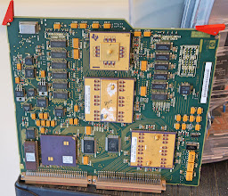 Photo: The circuit board is from a Cray computer. Note that printed circuits are made of gold alloy.