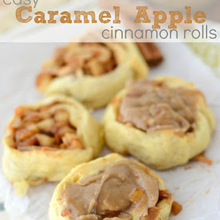 Easy Caramel Apple Cinnamon Rolls.