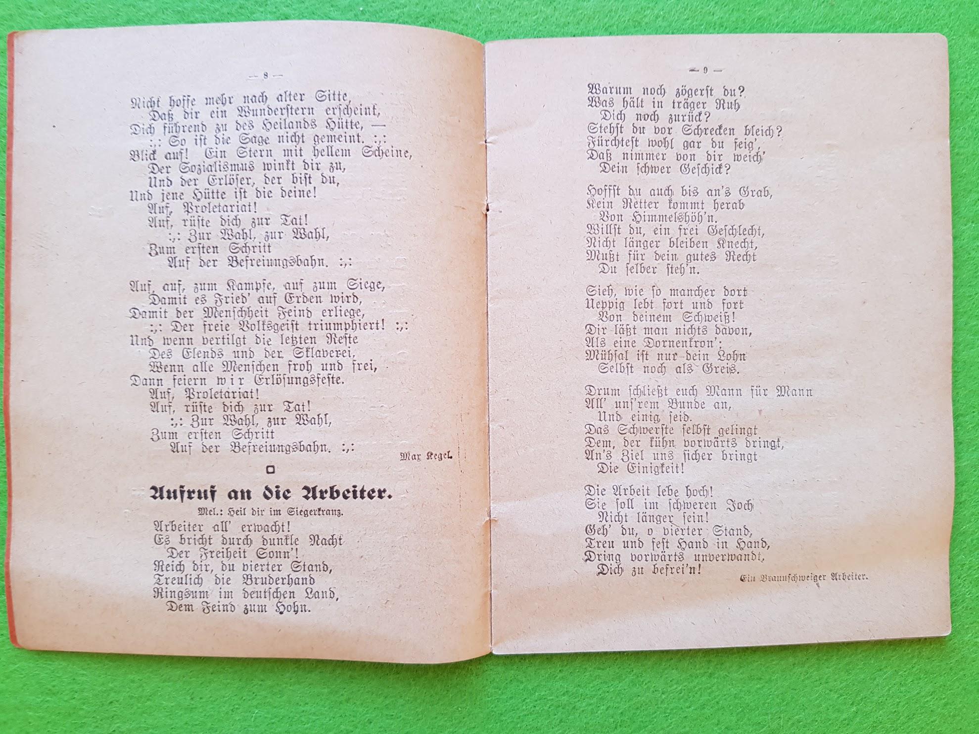 """Arbeiter Liederbuch für Massengesang, 1910 - Heil dir im Siegerkranz Version: """"Aufruf an die Arbeiter"""""""