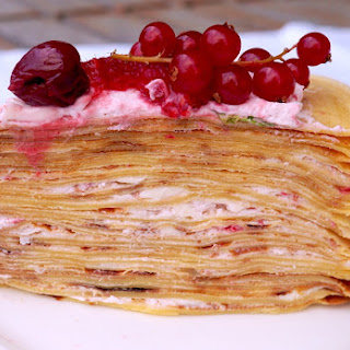 Crepe Cake with Raspberry Cream and Berries.