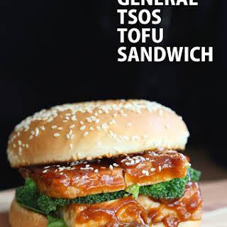 Vegan General Tso's Tofu Sandwich.