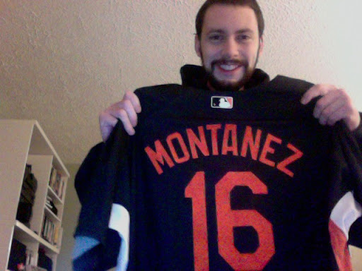 Modeling my game-used Lou Montanez spring training jersey.