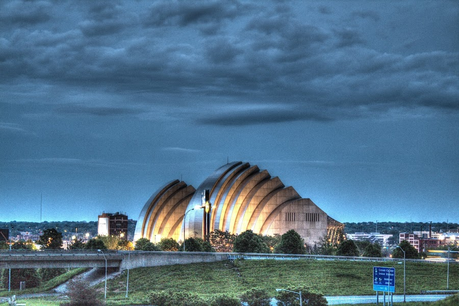 Kauffman Center by Teresa Husman - Buildings & Architecture Architectural Detail ( skyline, kauffman center, stormy sky, night sky,  )