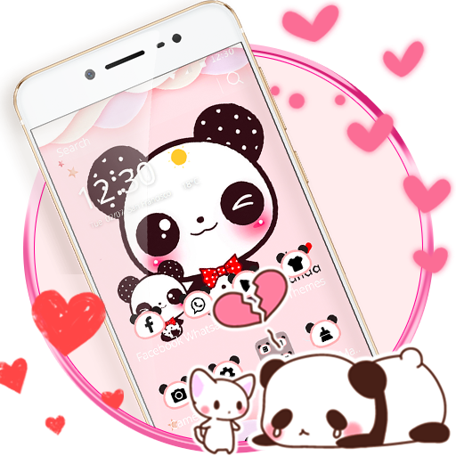 Pink Cute Panda Lovely Theme Aplikasi Di Google Play