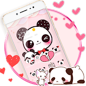 Pink Cute Panda Lovely Theme