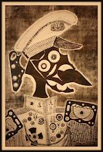 Photo: Antonio Berni El marino amigo de Ramona 1964. Xilocollage. Matriz xilográfica: 83,5 x 56 cm. Estampa: 98,5 x 65 cm. Colección particular, Buenos Aires. Expo: Antonio Berni. Juanito y Ramona (MALBA 2014-2015)