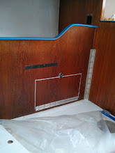 Photo: hinges and clasp installed on lower pilot berth cabinet access