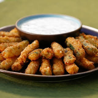 Crispy Zucchini Fries with Buttermilk Ranch Dipping Sauce.