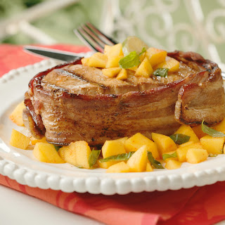 Bacon-Wrapped Pork with Spicy Mango-Basil Relish.