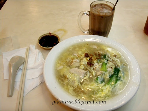 lunch wantan ho fish and sweet and sour chicken with milo and chinese tea at palm cafe centre point kota kinabalu sabah