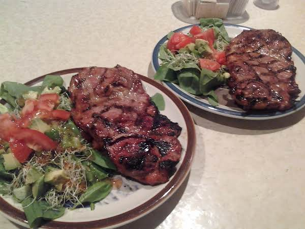 Savory Grilled Pork Steaks And Spinach Salad For 2