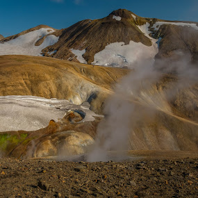 Cyclists by F Kelly - Landscapes Mountains & Hills ( adventure, iceland, cyclists, cycling, fumaroles, hiking, laugavegur hiking trail )