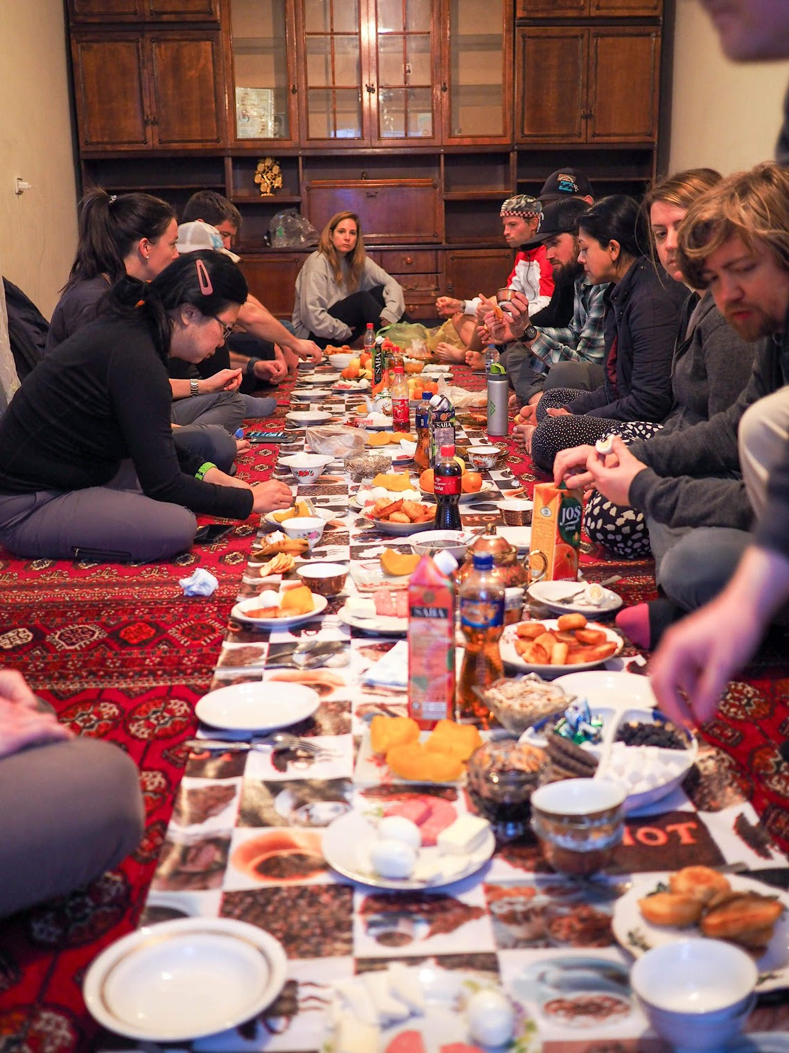 When eating at someone's home, we sit on the floor and the food is eaten off a table cloth laid on the floor as well. Turkmenistan home in general seemed to be empty of furniture.
