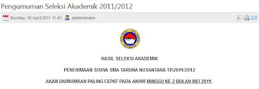pengumuman hasil seleksi akademik smatn 2011-2012