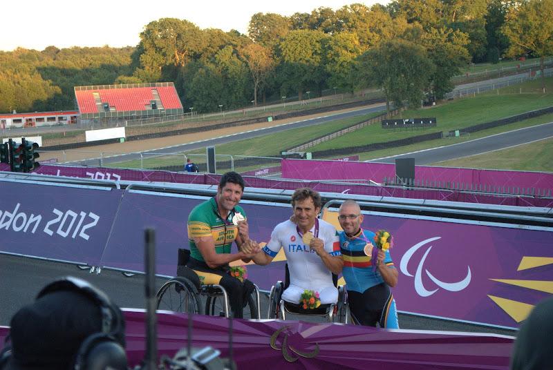 Photo: Medallists for men's H4 - amazing win by Zanardi to beat them on the line. Alex Zanardi (G, ITA), Ernst van Dyke (S, RSA), Wim Decleir (B, BEL)