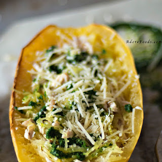 Baked Spaghetti Squash with Grilled Chicken and Fresh Pesto