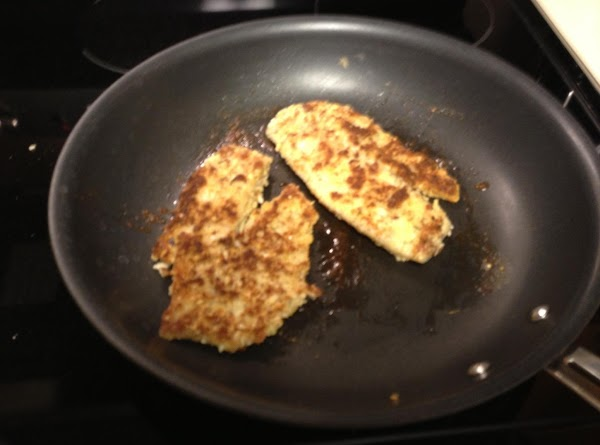 Dip floured fillets into egg mixture then into almonds and cheese mixture.  Press...