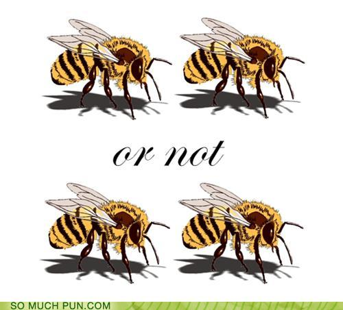 pun with a picture of 4 bees... 2 bee or not 2 bee