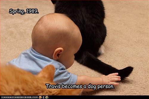 photo of a baby about to grab a cat's tail