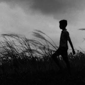 Solitude by Satabdi Datta - Black & White Portraits & People ( nature, black and white, boy, walk, solitude )
