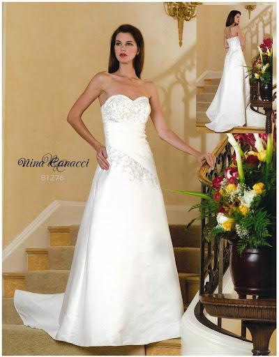 White Strapless Column Wedding Dress
