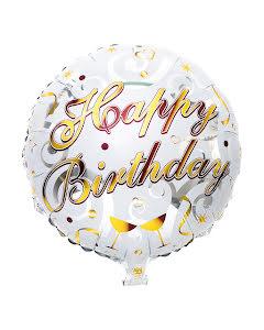 Folieballong, happy birthday guld