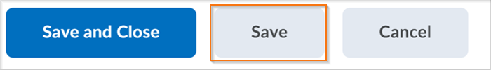Figure: The Save button in the new assignment creation experience