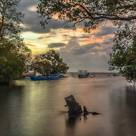 Sunrises  by Bobo Tandiono - Landscapes Beaches ( clouds, beaches, tree, boats )