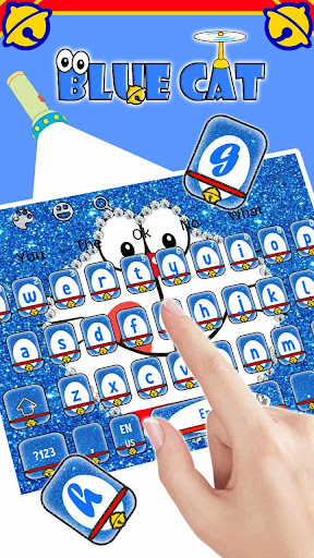 Kawaii Blue Cat Diamond Keyboard 10001001 screenshots 2