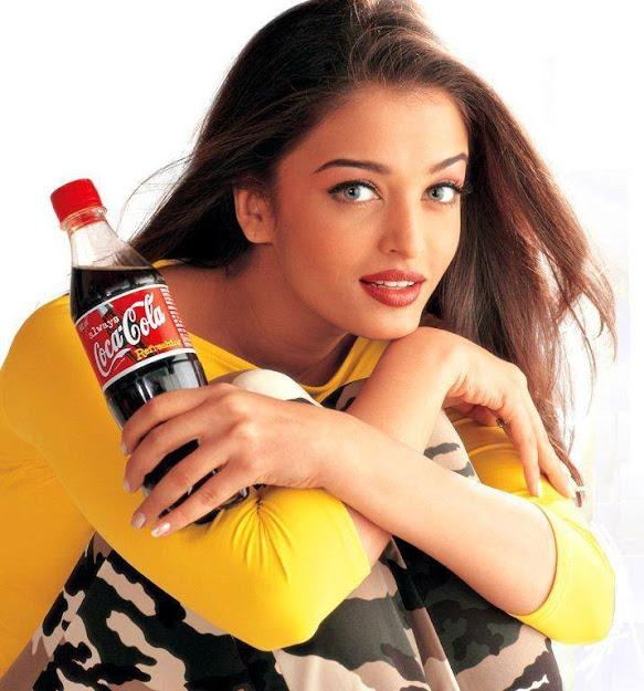 Aishwarya Rai cocacola ad in yellow dress