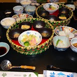 huge Japanese breakfast in the $500 Ryokan at Senkei in Yumoto, Hakone in Hakone, Kanagawa, Japan