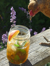 Photo: Amy's chicken Bess is after the peach, not the bourbon, in this peach julep.