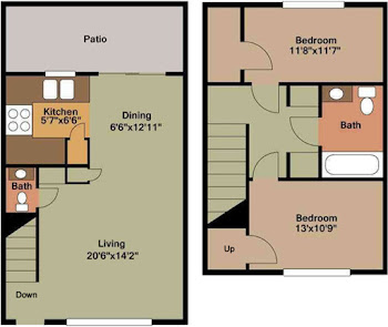 Go to B2 - 2 Bedroom Townhome Floorplan page.