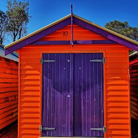Beach Hhut by Glen John Terry  - Buildings & Architecture Homes ( beach hut, orange, purple, sea, beach,  )
