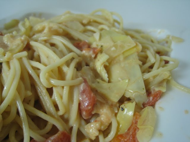 Spaghetti With Artichoke Hearts And Tomatoes Recipes — Dishmaps