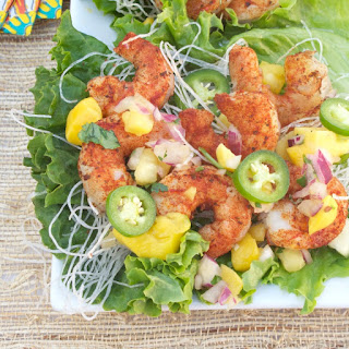 Grilled Blackened Shrimp Lettuce Wraps w Pineapple-Mango Moscato Salsa